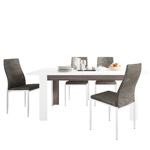 Chelsea Living Extending Dining Table And 4 Milan High Back Chairs Dark Brown
