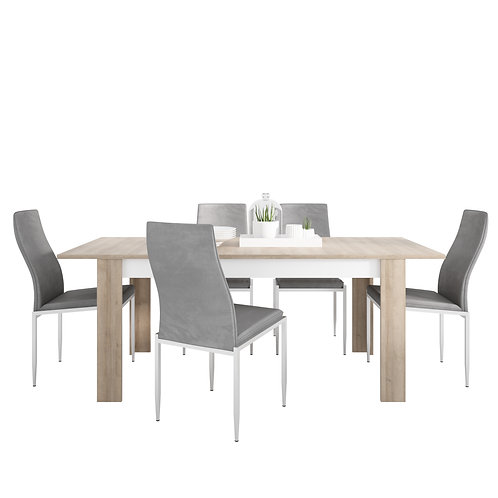 Lyon Large Extending Dining Table And 4 Milan High Back Chairs Grey