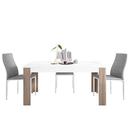 Toronto 160 CM Dining Table And 6 Milan High Back Chairs Grey