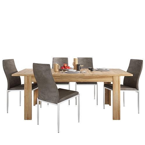 Dining Table In Grandson Oak + 4 Milan High Back Chair Dark Brown.