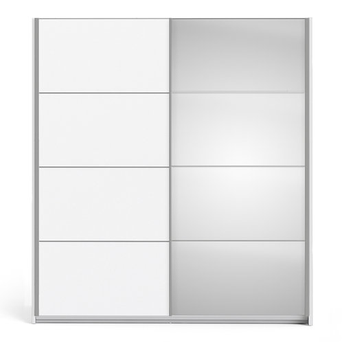 Verona Sliding Wardrobe 180cm in White with Mirror Doors and 2 Shelves