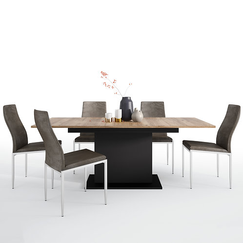 Brolo Extending Dining Table And 4 Milan High Back Chair Dark Brown