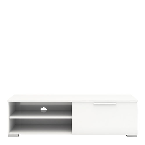 Match Tv Unit 1 Drawers 2 Shelf In White High Gloss