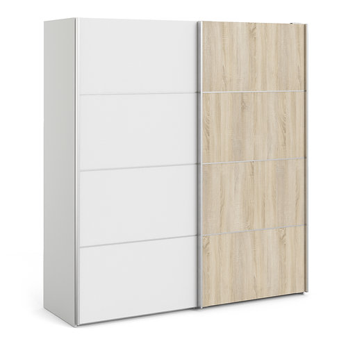 Verona Sliding Wardrobe 180cm in White with White and Oak doors and 5 Shelves