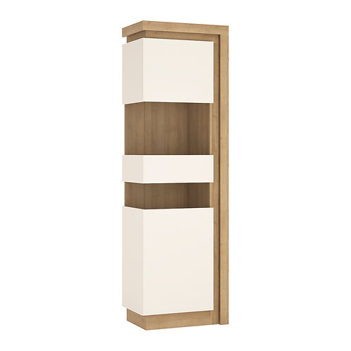 Lyon Tall Narrow Left Handed Display Cabinet In Riviera Oak/White High Gloss