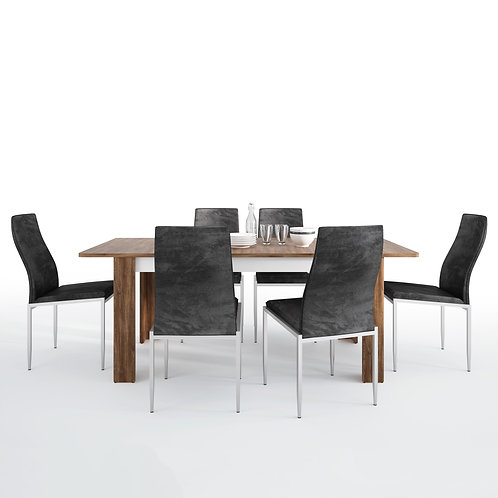 Toledo Extending Dining Table + 6 Milan High Back Chair Blac