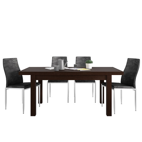 Pello Extending Dining Table In Dark Mahogany + 4 Milan High