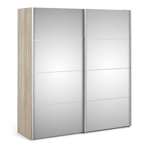 Verona Sliding Wardrobe 180cm in Oak with Mirror Doors and 2 Shelves