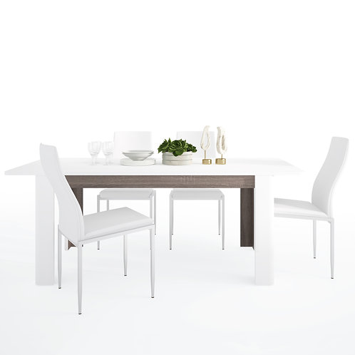Chelsea Living Extending Dining Table And  4 Milan High Back Chairs White