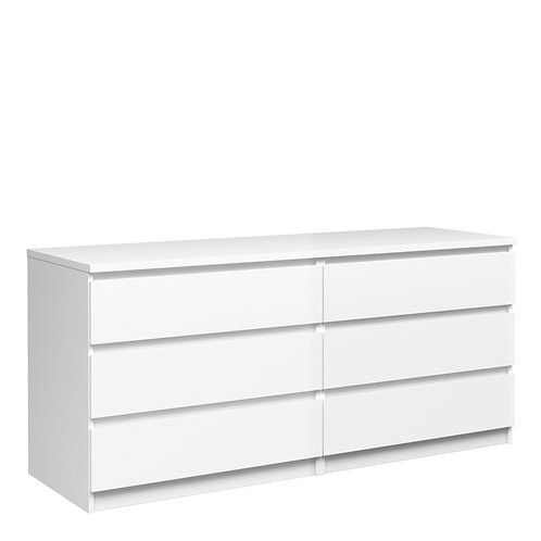Naia Wide Chest Of 6 Drawers In White High Gloss