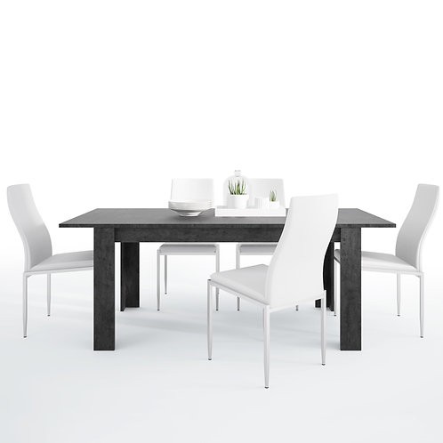 Zingaro With Dining Table And 6 Milan High Back Chairs White