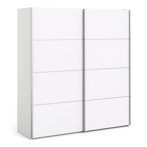 Verona Sliding Wardrobe 180CM In White With White Doors and 2 Shelves