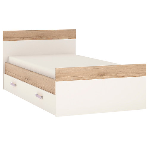 4Kids Single Bed With Under Drawer With Lilac Handles