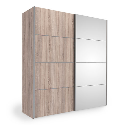Verona Sliding Wardrobe 180cm in Truffle Oak With Mirror Doors and 5 Shelves