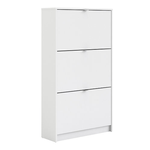 Shoe Cabinet With 3 Tilting Doors And 2 Layers