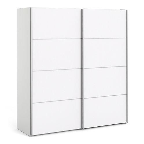 Verona Sliding Wardrobe 180cm in White with White Doors and 5 Shelves