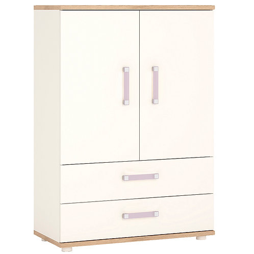 4Kids 2 Door 2 Drawer Cabinet With Lilac Handles