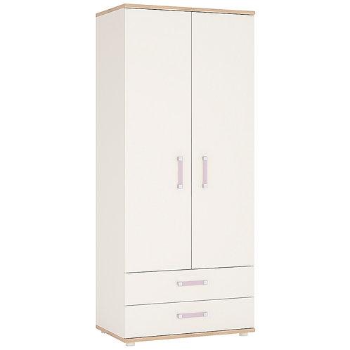 4Kids 2 Door 2 Drawer Wardrobe With Lilac Handles