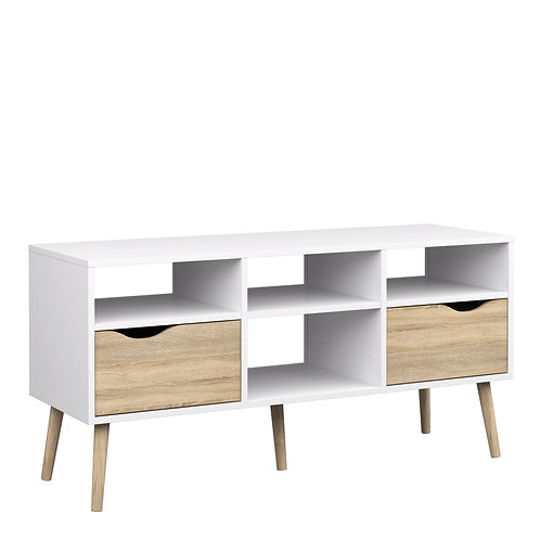 Oslo Tv Unit - Wide - 2 Drawers 4 Shelves In White And Oak