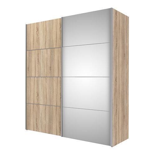 Verona Sliding Wardrobe 180cm in Oak With Mirror Doors and 5 Shelves