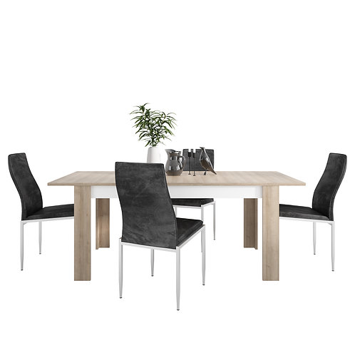 Lyon Large Extending Dining Table And  4 Milan High Back Chairs Black