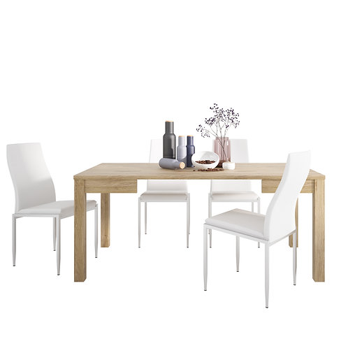 Shetland Extending Dining Table And 6 Milan High Back Chair White