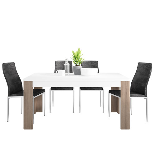 Toronto 160 CM Dining Table And 6 Milan High Back Chairs Black