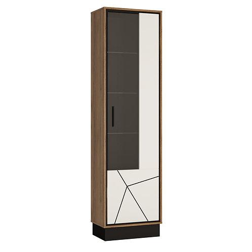 Brolo Tall Glazed Display Cabinet (RH) With The Walnut And Dark Panel Finish