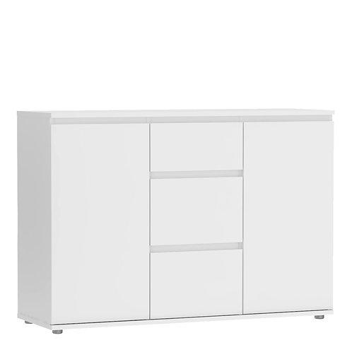 Nova Sideboard 3 Drawers 2 Doors In White
