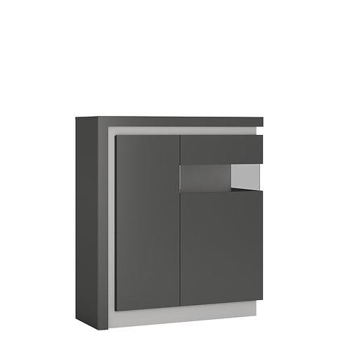 Lyon 2 Door Designer Right Handed Cabinet In Platinum/Light Grey Gloss