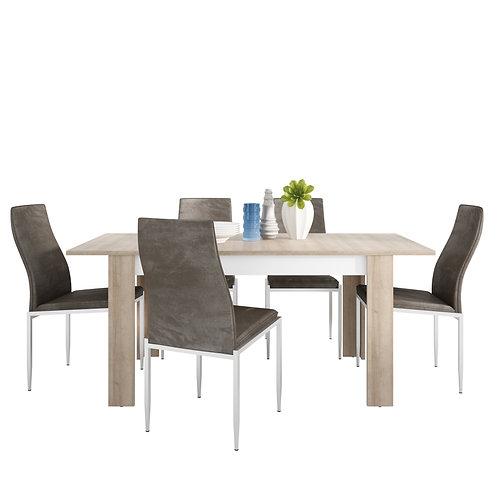 Lyon Medium Extending Dining Table And 6 Milan High Back Chairs Dark Brown