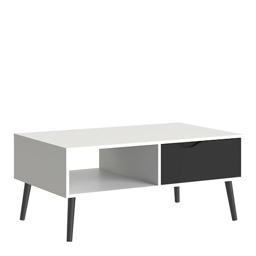 Oslo Coffee Table 1 Drawer 1 Shelf In White And Black Matt