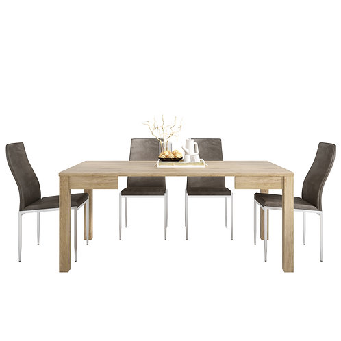 Shetland Extending Dining Table And 4 Milan High Back Chair Dark Brown