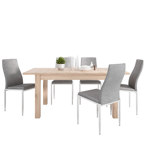 Kensington Extending Dining Table + 4 Milan High Back Chair