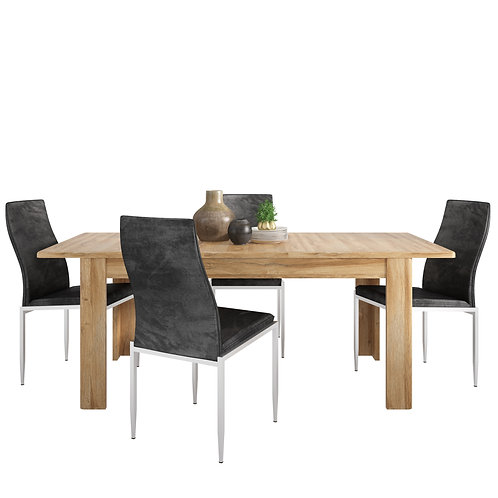 Cortina Extending Dining Table In Grandson Oak + 6 Milan High Back Chair Black.