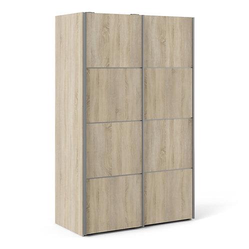 Verona Sliding Wardrobe 120CM In Oak With Oak Doors and 5 Shelves