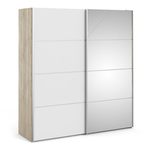 Verona Sliding Wardrobe 180cm in Oak with White and Mirror Doors and 2 Shelves