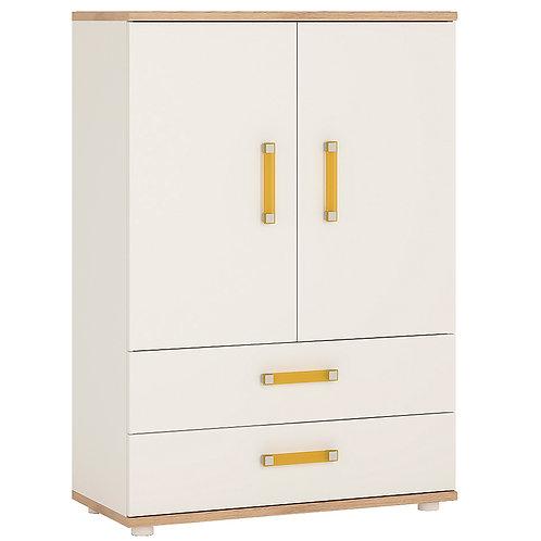 4Kids 2 Door 2 Drawer Cabinet With Orange Handles