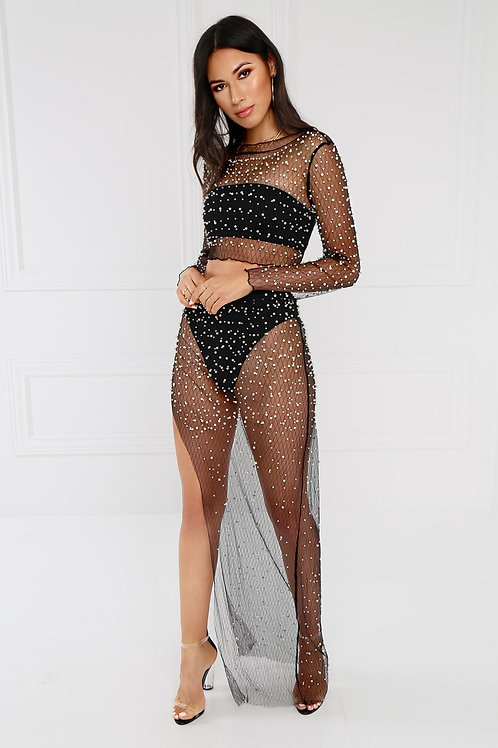 Ruffle Mesh Cover Up Set (Long Skirt & Top)