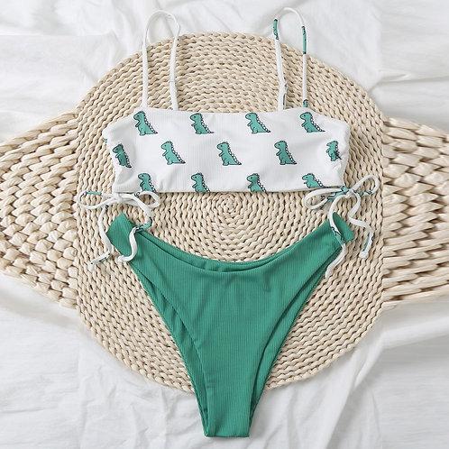 High Waist Dinosaur Bandeau Bikini