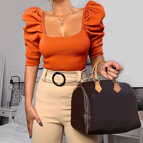 Pullover Crop Puffed Blouse