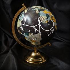 Wedding monogram on decorative globe