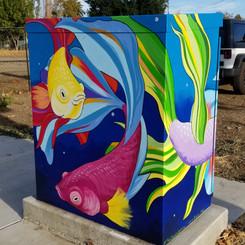 Utility box with betta fish design