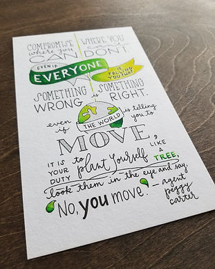 Hand-lettered Agent Peggy Carter quote, in ink on paper