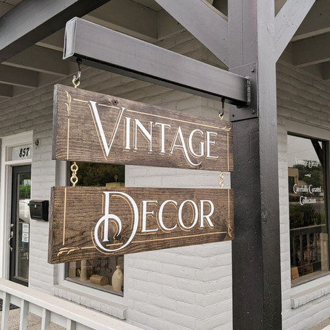 Stained wood hanger sign