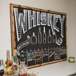 Whiskey bar menu chalkboard