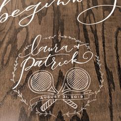 Wedding logo on wooden rental sign