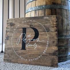 Reclaimed wood sign with family names & monogram