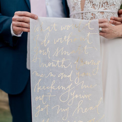 Vellum table runner with first dance song lyrics