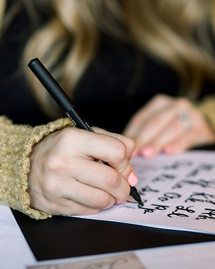 Calligraphy practice at a Letterly Workshop